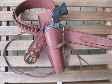 "Gun Belt - .45 Caliber - With Left Hand Smooth Holster - Brown - 32"" to 52"""