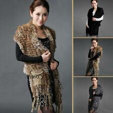 Women Soft Warm Knitted Real Farms Rex Rabbit Fur Long Scarves Tops 3Colors