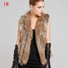 Women Elegant Real Farms Rabbit Fur Waistcoat Vest Gilet With Raccoon Collar