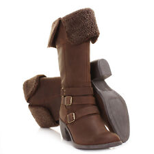 Womens Hush Puppies Rustique Bt Dark Brown Leather Knee High Boots Size 3-8