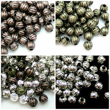 100 x 4mm Corrugated Melon Style Round Spacer Beads Jewellery Beads Free P+P