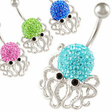 dangling belly button rings navel jewelry octopus dangle bar piercing 9IQE