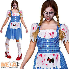 Zombie Dorothy Fancy Dress Ladies Fairytale Horror Womens Costume Outfit UK 6-24