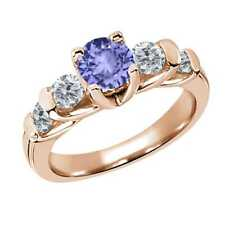 1.78 Ct Round Blue Tanzanite G/H Diamond 14K Rose Gold Ring