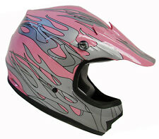 Youth Kids Pink Flame Motocross Dirt Bike Off-Road ATV MX Helmet~S, M, L