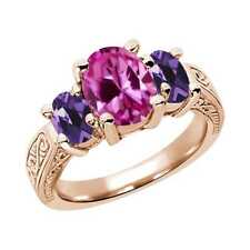 3.30 Ct Oval Pink Created Sapphire Purple Amethyst 14K Rose Gold 3-Stone Ring