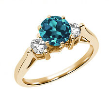 0.65 Ct Round Natural London Blue Topaz 14K Yellow Gold 3-Stone Ring