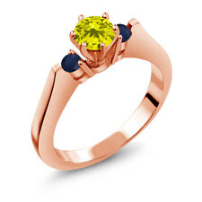 0.71 Ct Round Canary Diamond Blue Sapphire 18K Rose Gold 3-Stone Ring