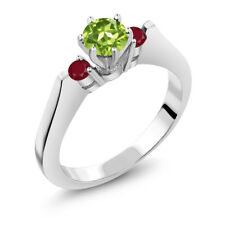 0.84 Ct Round Green Peridot Red Ruby 925 Sterling Silver 3-Stone Ring