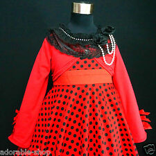 R3122 Red Black Girls Party Dress + Reds Cardigan SET AGE SIZE 2-3-4-5-6-7-8-10Y