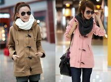 New  Womens Leisure Toggle Button Hoodie Sweatshirt Slim Jacket Coat Overcoat