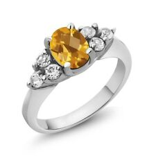 1.43 Ct Oval Checkerboard Yellow Citrine 14K White Gold Ring