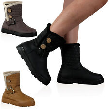 Ladies Quilted Faux Fur Womens Grip Sole Winter Snow Ankle Boots Shoes Size 3-8