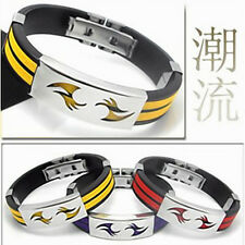 NEW 316L Stainless Steel Silicone Men's Bracelet Bangle Great wall texture SL138