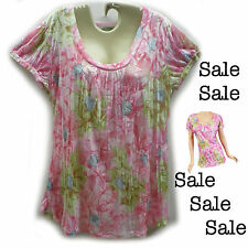 Pretty Pink Floral Short Sleeve Plus Size Summer Top ~ Sizes 14 - 16 - 18 ~ SALE
