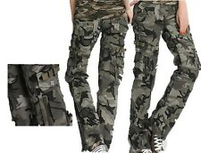 Womens Army Military Camouflage Light Cargo Combat Trousers Wide Loose Fit Pants