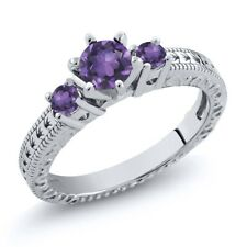 0.65 Ct Round Purple VS Amethyst 925 Sterling Silver 3-Stone Ring