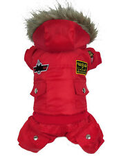 Thick Warm Small Dog Pet Clothes Outercoat Red Hoodie Jumpsuit Pants For Winter