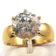 REAL 3.5Ct GEMSTONE 18K YELLOW GOLD PLATED RING size 7,8,9 UK N,P,R SOLID GP