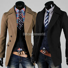 Mens Casual Stylish Wool Trench Coat Winter Jacket Outerwear Overcoat