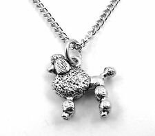 Pewter Poodle Pendant On a Silver Tone Link Chain Necklace -5476