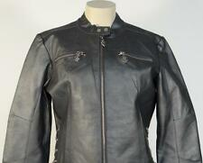 RocaWear Gun Metal Gray Genuine Leather Zip Front Jacket Womans Large L NWT