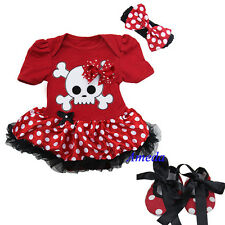 Baby Minnie Mouse Pirate Pettiskirt Bodysuit Tutu Red Polka Dots Crib Shoes 0-18