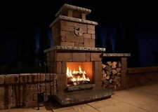 Outdoor Fire Place Kit - Designer - Custom - Bricks - Wood Box - Limestone Top