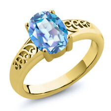 1.80 Ct Oval Millennium Blue Mystic Quartz 18K Yellow Gold Plated Silver Ring