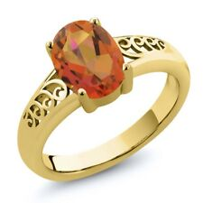 1.80 Ct Oval Twilight Orange Mystic Quartz 18K Yellow Gold Plated Silver Ring