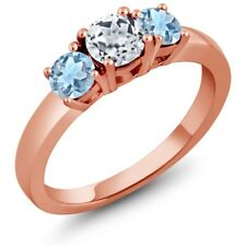 1.04 Ct Round White Topaz Sky Blue Aquamarine 925 Rose Gold Plated Silver Ring