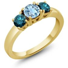 0.99 Ct Sky Blue Aquamarine Blue Diamond 925 Yellow Gold Plated Silver Ring