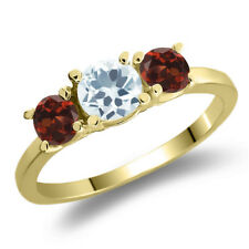 1.19 Ct Round Sky Blue Aquamarine Red Garnet 14K Yellow Gold 3-Stone Ring