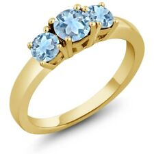 0.89 Ct Round Sky Blue Aquamarine 925 Yellow Gold Plated Silver Ring