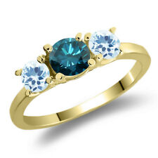 1.21 Ct Round Blue Diamond Sky Blue Topaz 925 Yellow Gold Plated Silver Ring