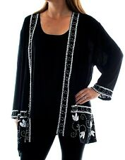 We Be Bop Occasion Beaded SOUTHERN COMFORT Crinkle Rayon Kimono Jacket