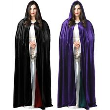Reversible Velvet Hooded Robe Adult Costume Acsry Cloak Halloween Fancy Dress