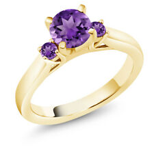 0.90 Ct Round Purple Amethyst 18K Yellow Gold Plated Silver 3-Stone Ring