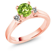 1.03 Ct Round Green Peridot White Diamond 925 Rose Gold Plated Silver Ring