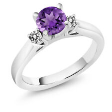 0.90 Ct Round Purple Amethyst White Diamond 14K White Gold 3-Stone Ring