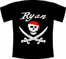 Personalised Kids Pirate Skull and Crossbones T-Shirt - Birthday, Fun, Party