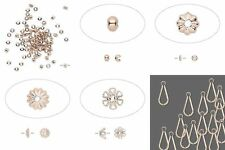 100 Rose Gold Light Copper Color Bead Findings Charms Caps Crimps Covers U Pick
