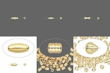 100 Bright Gold Spacer Drop Beads Tube Dogbone Oval Barrel Teardrop You Pick