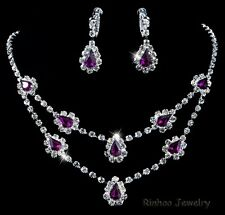 Bollywood Drop Bridal Crystal Necklace Earring Set Silver Plated, Party Prom