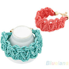 Chic Womens Beauty European Bohemian Retro Beads Braided Knotted Bracelet BD4U