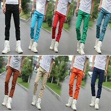 Men Candy Color Slim Fit Skinny Jeans Casual Stretch Pencil Pants Demin Trousers