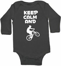 KEEP CALM AND MOUNTAIN BIKE  BABY INFANT BODYSUIT SIZE COLOR SLEEVE OPTION