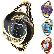 Fashion Womens Circle Round Crystal Bangle Cuff Quartz Bracelet Wrist Watch BD4U