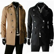 2013 Fashion NEW Mens Slimline Design Double Breasted Wool Coat Jacket 3 color