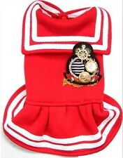 Good New Small Girl Dog Puppy Pet Clothes Apparel Navy Red Princess Dress
